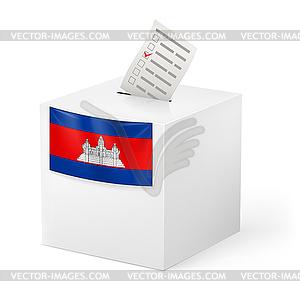 Wahlurne mit Stimmzettel. Kambodscha - Vektorgrafik-Design