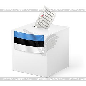 Wahlurne mit Stimmzettel. Estland - vektorisiertes Design