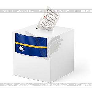 Wahlurne mit Stimmzettel. Nauru - vektorisiertes Design