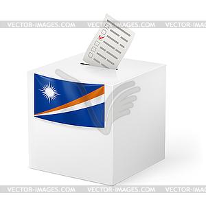Wahlurne mit Stimmzettel. Marshall-Inseln - Stock Vektorgrafik