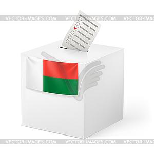Wahlurne mit Stimmzettel. Madagaskar - Vector-Clipart EPS