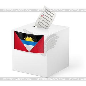 Wahlurne mit Stimmzettel. Antigua und Barbuda - Stock-Clipart