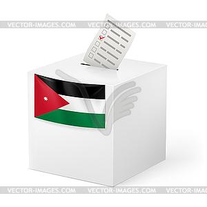 Wahlurne mit Stimmzettel. Jordan - Vector-Clipart / Vektor-Bild