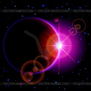 Dunkle Planeten mit Flare - Stock Vektor-Bild