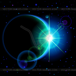 Dunkle Planeten mit Flare - Stock-Clipart