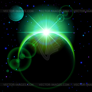 Dunkle Planeten mit Flare - Vector-Clipart / Vektor-Bild
