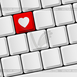 Tastatur mit Herzknopf - Royalty-Free Vektor-Clipart