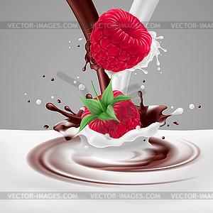 Himbeeren mit Milch und Schokolade - vektorisiertes Clip-Art