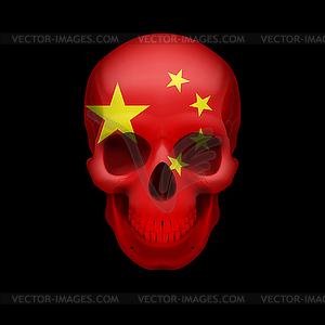 Chinesische Flagge Schädel - farbige Vektorgrafik