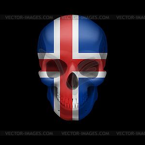 Isländische Flagge Schädel - Vector-Bild