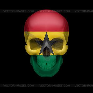 Ghanaischen Flagge Schädel - Vektor-Clipart / Vektorgrafik