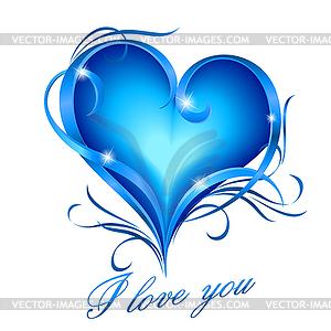 Blaue Herzen mit Ich liebe dich Text - Royalty-Free Vektor-Clipart
