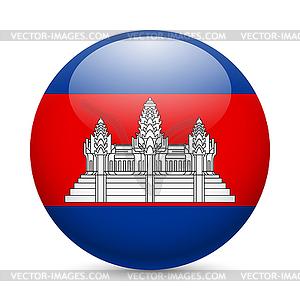 Runde glänzend Symbol von Kambodscha - Vektor-Illustration