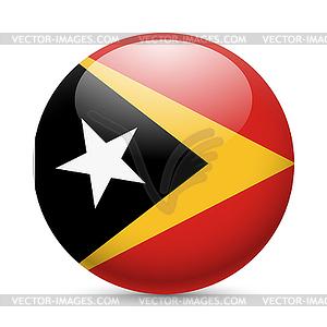 Runde glänzend Symbol von Ost-Timor - farbige Vektorgrafik