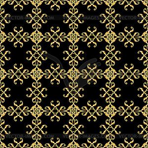 Asian goldene Muster auf schwarz - Vektor-Clipart EPS