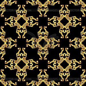Asian goldene Muster auf schwarz - farbige Vektorgrafik
