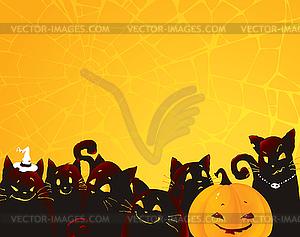 Halloween-Hintergrund mit schwarzen Katzen und Kürbis - Vektor-Clipart / Vektorgrafik