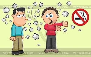 Rauchen Zigarette, während ein anderer Mann zeigt auf kein - Vektor-Clipart EPS
