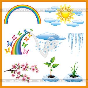 Satz von Frühling Natur Objekt, Symbol - Vektor Clip Art