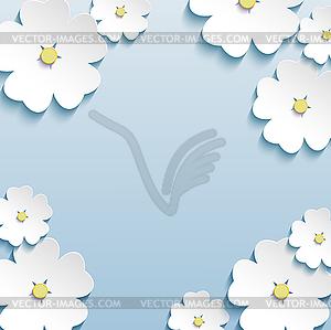 Floral abstrakte Hintergrund, 3d Blumen Kirschbaum - vektorisierte Abbildung