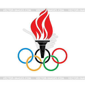 Olympische Fackel Symbole und Ringe vtctor - vektorisiertes Clipart