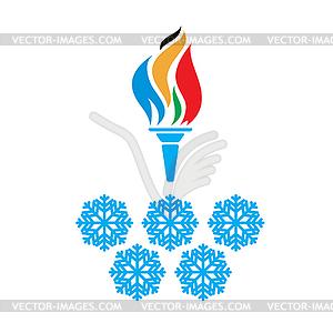 Olympische Fackel Symbole und Ringe vtctor - vektorisiertes Bild
