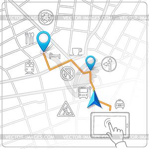 Mit Tablet für Straßenkartennavigation - Vector-Clipart EPS