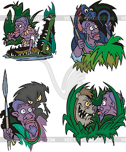 Comic nischen Ureinwohner in Gefahr - Royalty-Free Clipart