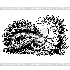 Dekorative Silhouette der Pfau - Vector Clip Art