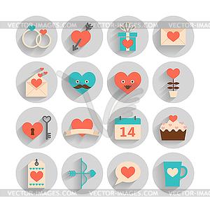 Romantisch-Set zum Valentinstag, Datum und Hochzeiten - Stock Vektorgrafik