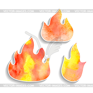 Set Aquarell Feuer-Symbole - Vector Clip Art