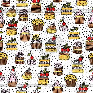 Nahtlose Muster von Kuchen, Desserts - Clipart-Design