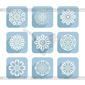 Reihe von dekorativen Schneeflocken - Vektor-Clipart / Vektor-Bild