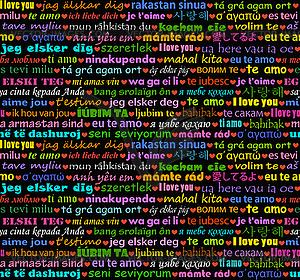 Ich liebe dich in allen Sprachen nahtlose Hintergrund - Stock Vektor-Clipart