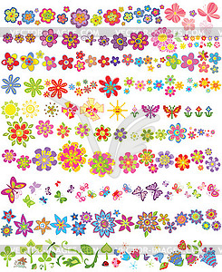 Set von Blumen und Schmetterlingen - Vector-Abbildung