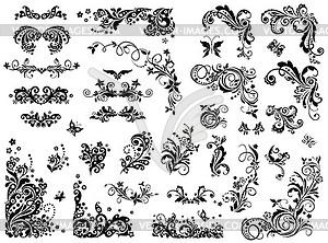 Schwarz-Weiß-Vintage-Design-Elemente - Klipart