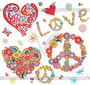 Set des Friedens Blumensymbol und Blumenherzen - vektorisiertes Bild