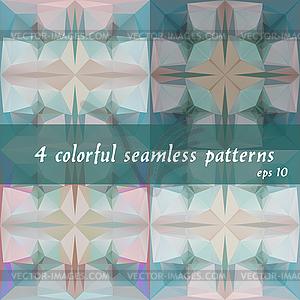 Set von 4 abstrakten geometrischen nahtlose Muster - vektorisierte Abbildung