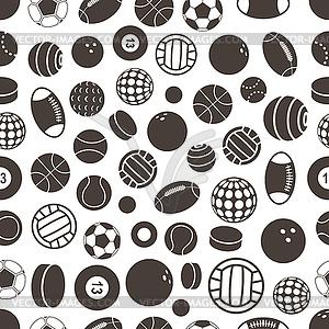 Sport Ball Silhouetten nahtlose Muster - Vector-Clipart EPS