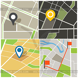 Abstrakte Stadt Kartensammlung - Vektor-Skizze