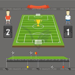 Fußball Spielstatistiken Vorlage. Flaches Design - Vektor-Clipart EPS