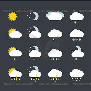 Vorhersage Wetter-Icons - Stock Vektorgrafik