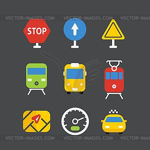 Verschiedene Transport Icons mit abgerundeten eingestellt - Vektor-Clipart / Vektor-Bild