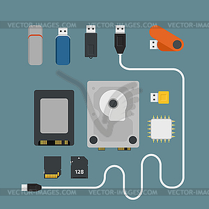 Verschiedene Speichervorrichtungen - Vector Clip Art