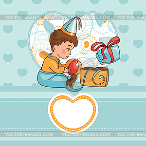 Kind mit Geburtstagsgeschenk - Vector-Clipart / Vektor-Bild