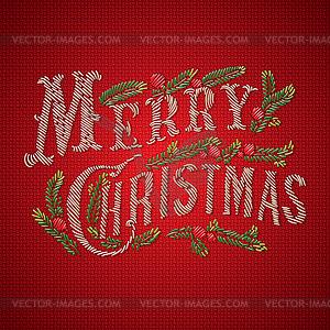Gestickte Weihnachtskarte - vektorisierte Abbildung