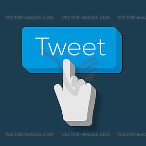 Tweet Button mit Hand gefor Cursor - Vektor-Clipart / Vektorgrafik