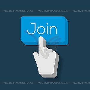 Begleiten Sie uns Button mit Hand gefor Cursor - Stock Vektor-Bild