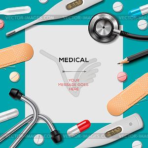 Medical Vorlage mit Medizin-Ausrüstung - Stock Vektorgrafik