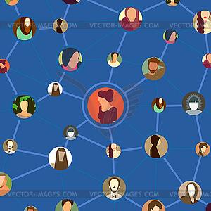 Nahtlose Muster mit verschiedenen avatar Gesichter in - Vektor-Clipart / Vektorgrafik